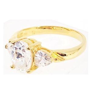 NV Stamped Glass Stone Gold Tone Ring 6.5